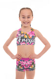 Personalised Tropical Butterfly Pink Crop Top and Gym Shorts