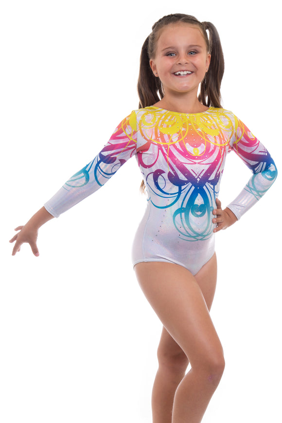 Vanquish Silver Deluxe Long Sleeve Gymnastics Leotard