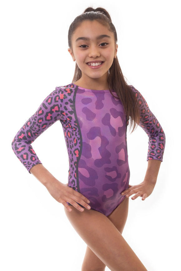Wild Purple Long Sleeved Gymnastics Leotard