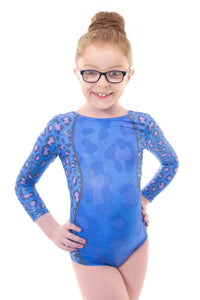 Wild Blue Long Sleeved Gymnastics Leotard