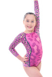 Wild Pink Long Sleeve Gymnastics Leotard
