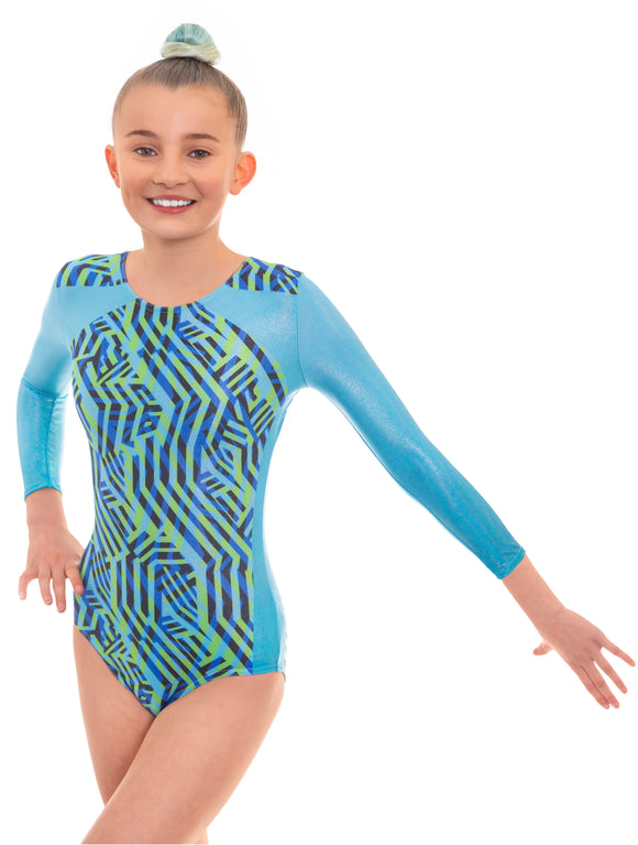 Zig Zag Blue Long Sleeved Gymnastics Leotard