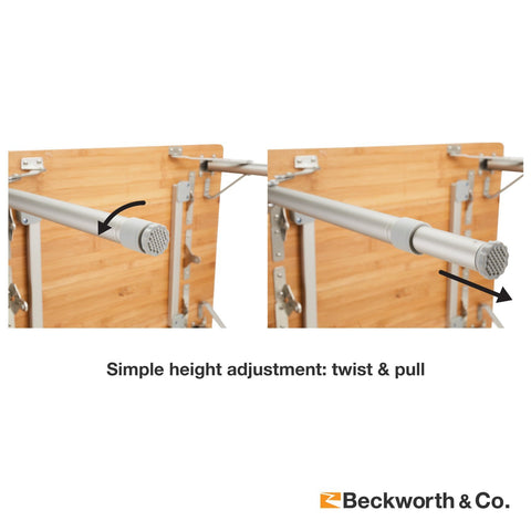 adjust table's height by twisting and pulling