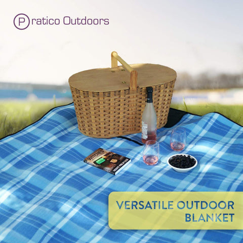 Extra Large Fleece Picnic Blanket - Blue