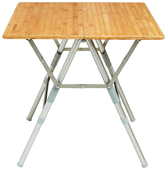 Shipping - HalfFlip: Bamboo Portable Folding Picnic Table with Adjustable Height