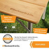 SmartFlip Large: Bamboo Portable Outdoor Folding Picnic Table