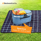 Foldable Collapsible Insulated Picnic Basket - Large 32L, Blue