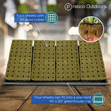 Four sheets fit into a standard greenhouse tray
