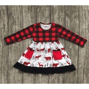 Buffalo Plaid Deer Dress