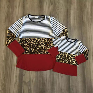 Maroon and Cheetah Mommy & Me Block Tops
