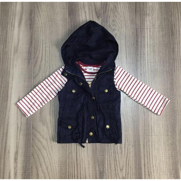 Navy Blue Vest With Stripe Top
