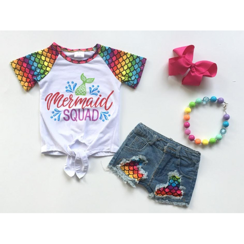 Mermaid Squad Jean Short Outfit