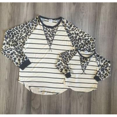 Gray And Ivory Leopard Mommy And Me Tops