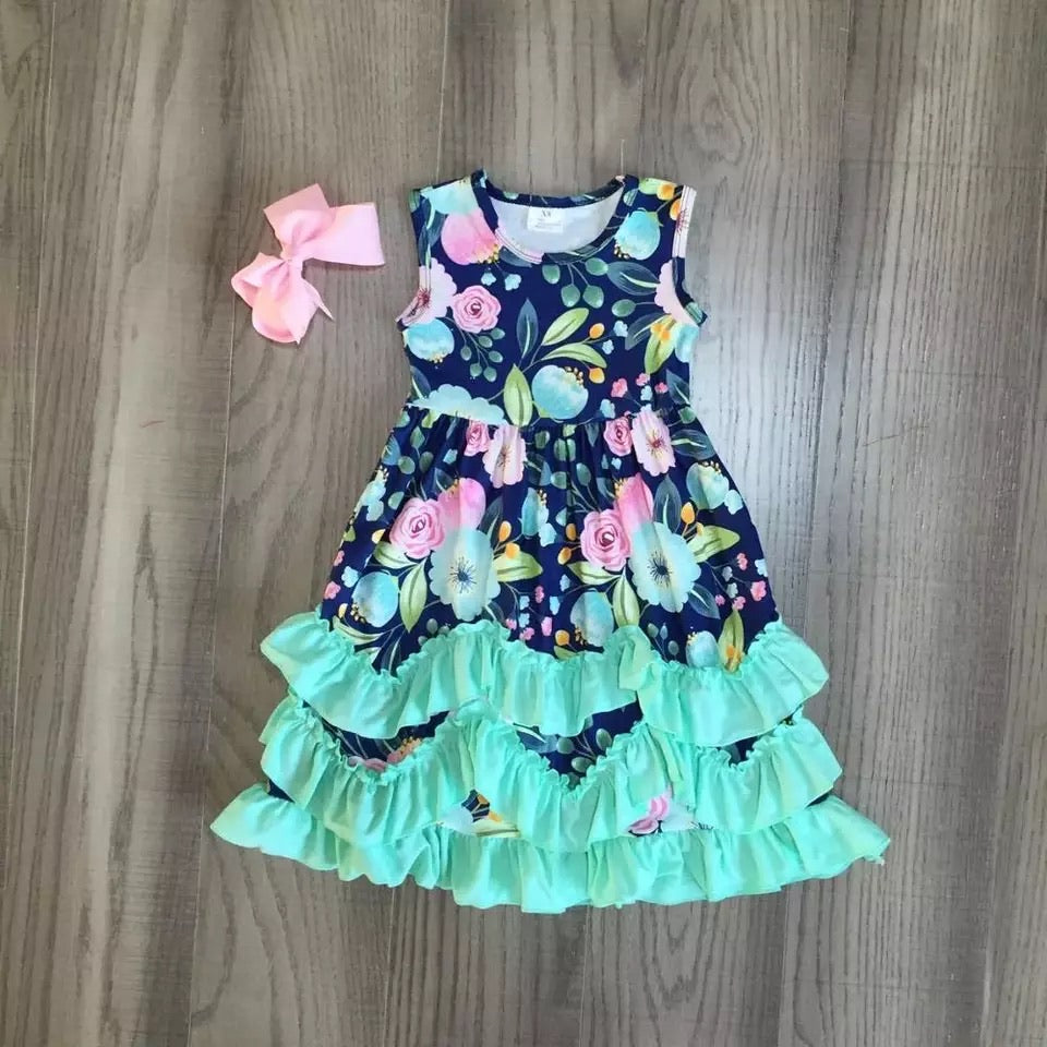 Aqua Floral Ruffle Dress
