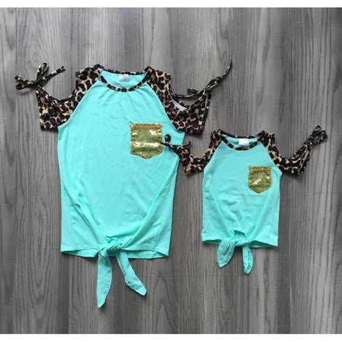 Mint Mom Front Tie Top