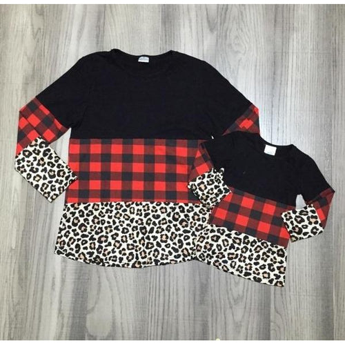 Plaid Cheetah Block Top