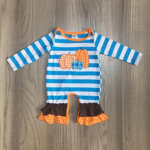 Blue and White Stripe Pumpkin Romper