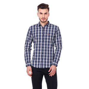 Fuel Factory Blue & White Checked Slim Fit Shirt