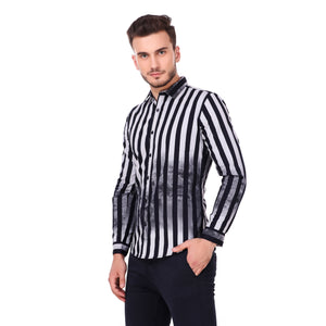 Salos Blue Stripes with Overlay Print Slim Fit Shirt