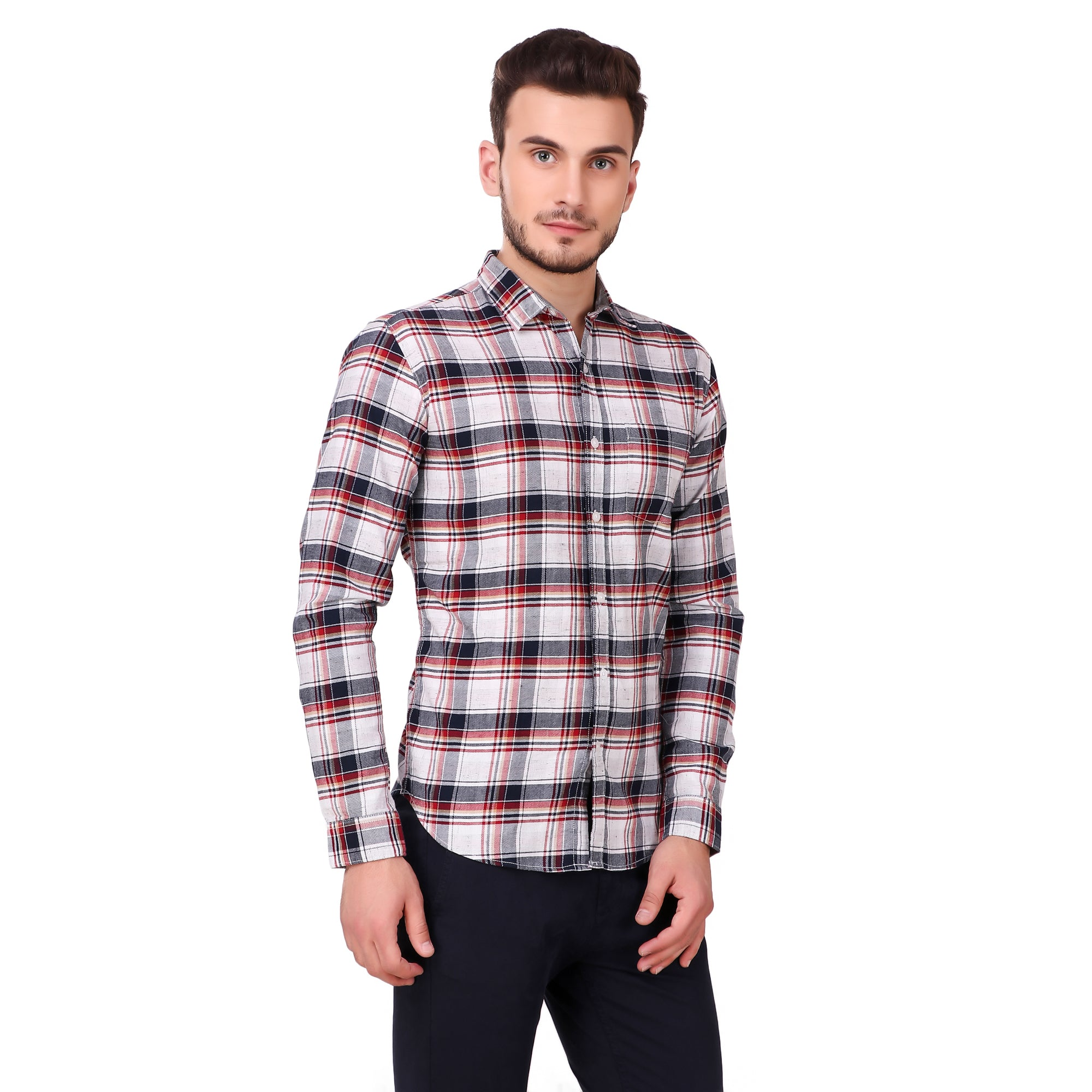 Pistole Red and White Casual Checked Slim Fit Shirt