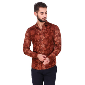 Salos Maroon Flower Printed Slim Fit Shirt