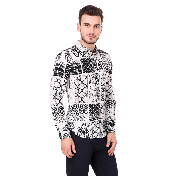 Salos Black & White Printed Slim Fit Shirt