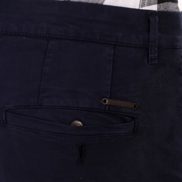 Salos Navy Blue Slim Fit Stretchable Chinos