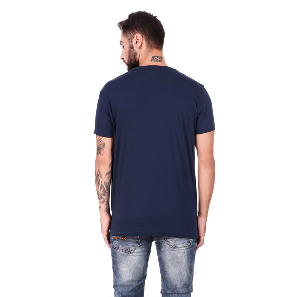 Pistole Navy Blue Graphic Photo Printed Round Neck Tshirt
