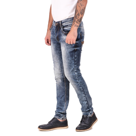 Fuel Factory Men's Blue Faded Slim Fit Mid-Rise Stretchable Jeans