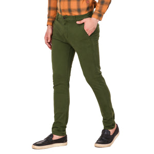 Salos Olive Green Slim Fit Stretchable Chinos