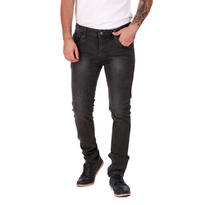 Fuel Factory Men's Carbon Black Faded Slim Fit Mid-Rise Stretchable Jeans