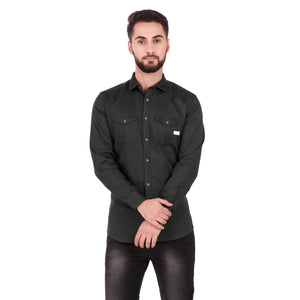 Salos Double Pocket Green Slim Fit Heavy Woven Shirt