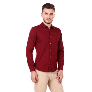 Salos Solid Red Slim Fit Shirt