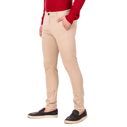Salos Khaki Slim Fit Stretchable Chinos