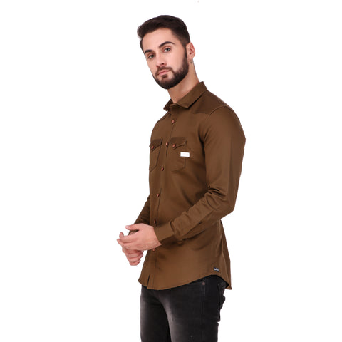 Salos Double Pocket Brown Slim Fit Heavy Woven Shirt
