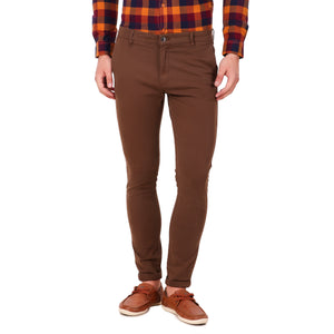 Salos Brown Slim Fit Stretchable Chinos