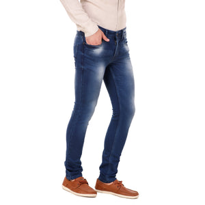 Fuel Factory Men's Denim Blue Faded Slim Fit Mid-Rise Stretchable Jeans