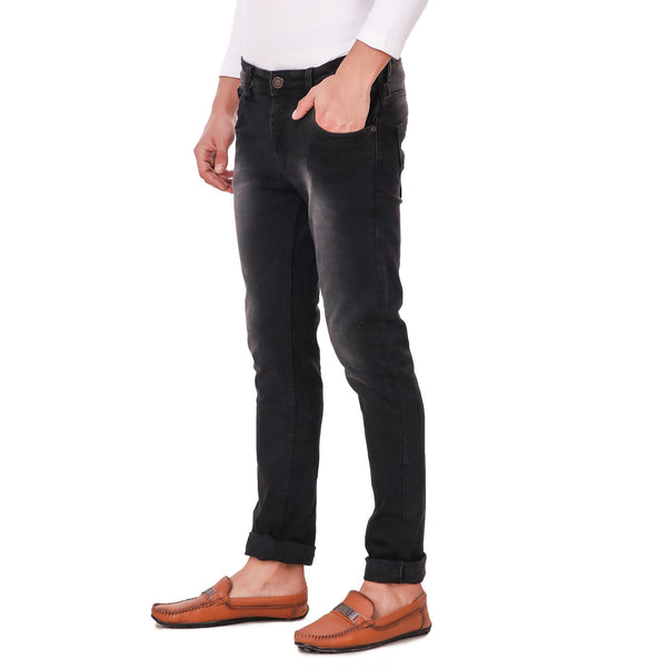 Fuel Factory Men's Black Light Fade Slim Fit Mid-Rise Stretchable Jeans