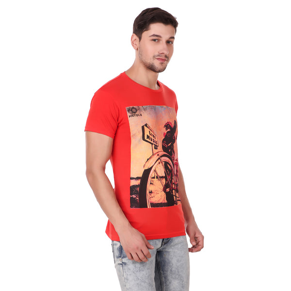 Pistole Red Graphic Photo Printed Round Neck Tshirt