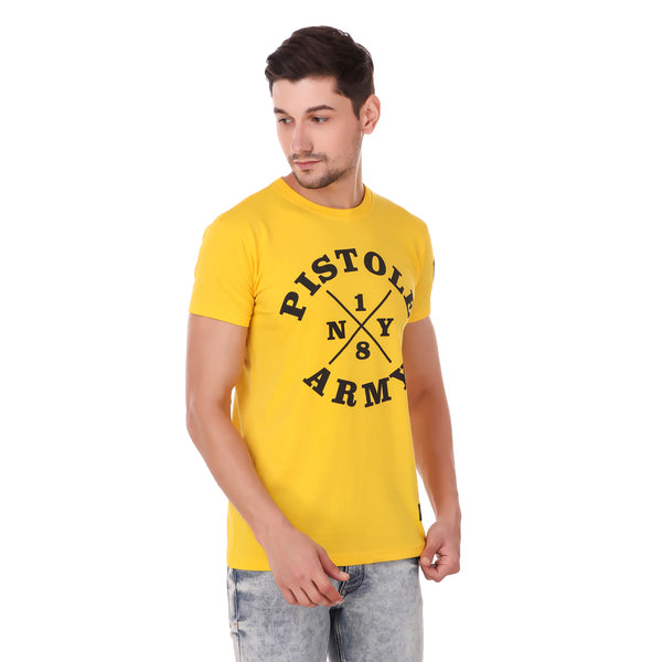 Pistole Army Ribbed Crew Neck Yellow Tshirt