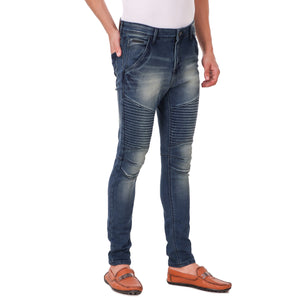Pistole Blue Medium Wash Slim Fit Mid-Rise Stretchable BIKER Jeans