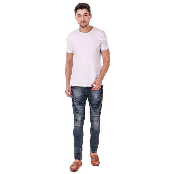 Pistole Dark Blue Faded Slim Fit Mid-Rise Stretchable BIKER Jeans