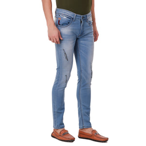Pistole Light Blue Ripped Slim Fit Mid-Rise Stretchable Jeans