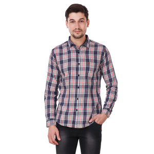 Fuel Factory Navy & White Checked Casual Slim Fit Shirt