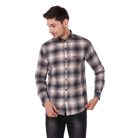 Fuel Factory Blue & Brown Checked Casual Slim Fit Shirt