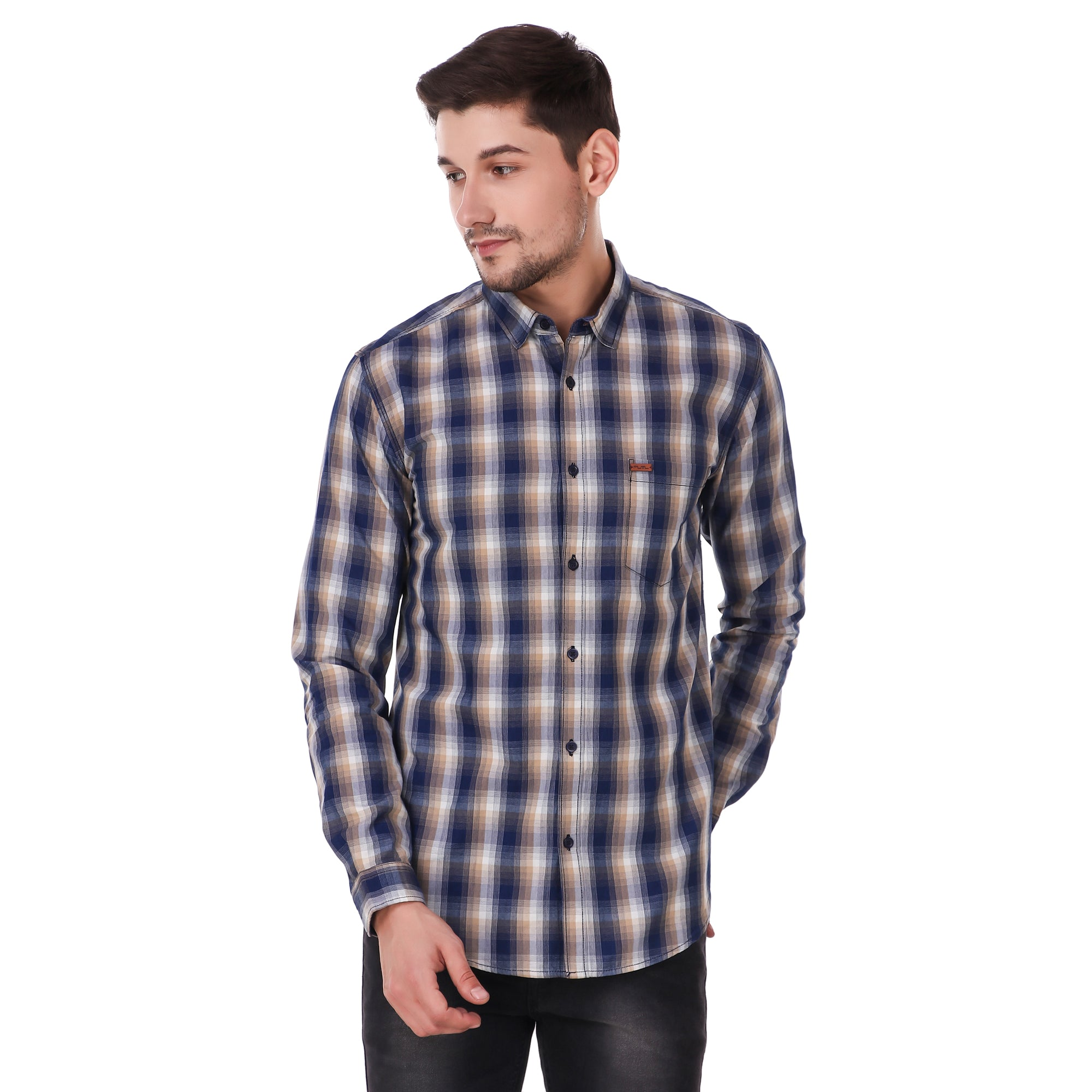 Fuel Factory Indigo Blue & White Checked Casual Slim Fit Shirt