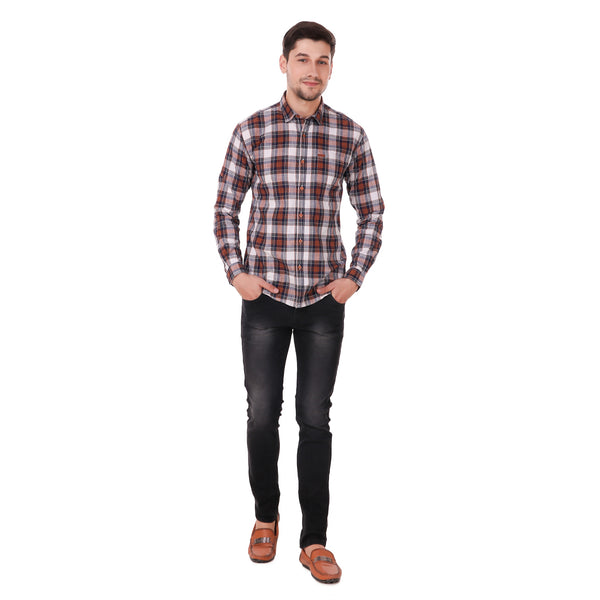 Fuel Factory Indigo Orange & White Checked Casual Slim Fit Shirt