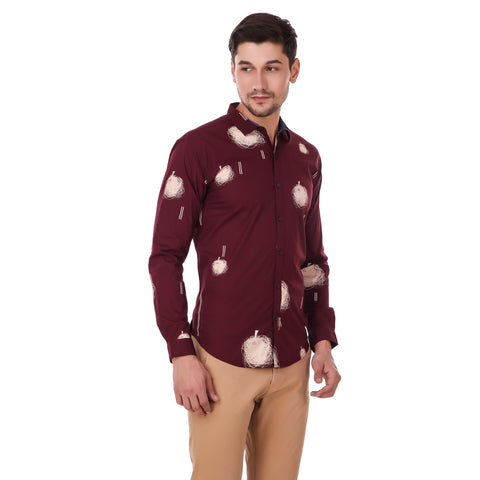 Pistole Stretchable Maroon Printed Partywear Slim Fit Shirt