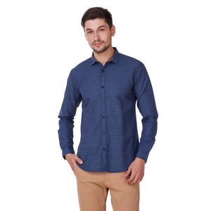 Salos Blue Horizontal Striped Slim Fit Shirt