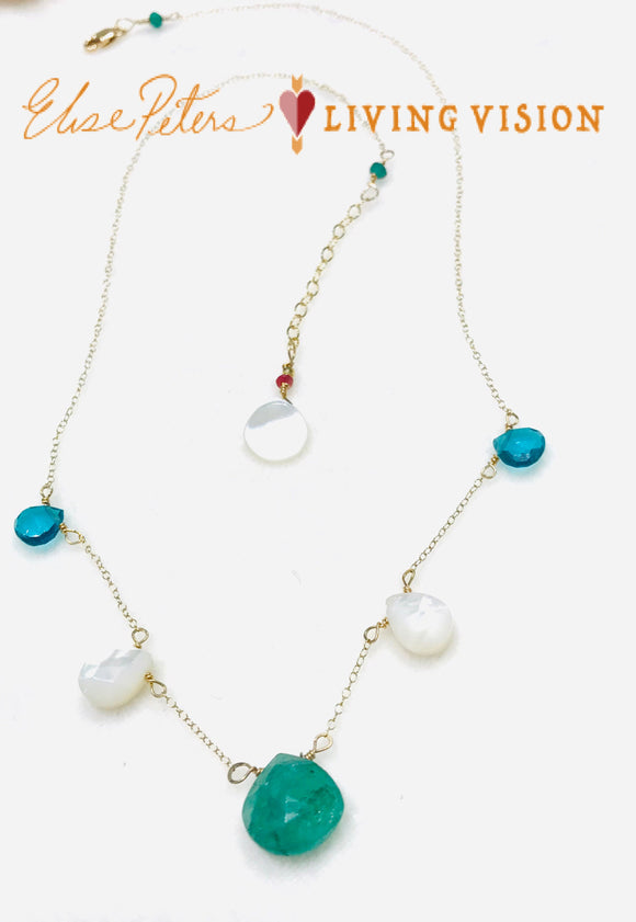 Emerald Briolette - Necklace